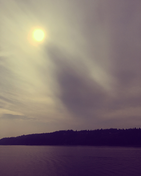 On the ferry trip across the sound, the skies were still tinged with smoke from the recent fires all over the Pacific Northwest.
