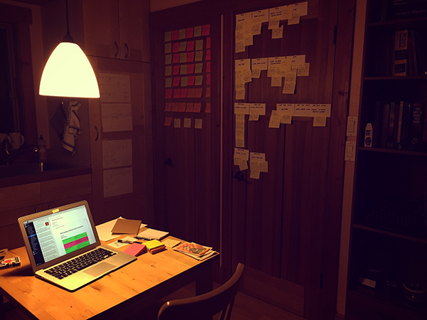 I took advantage of the limited wall space, papering every surface throughout the week with index cards and Post-Its.