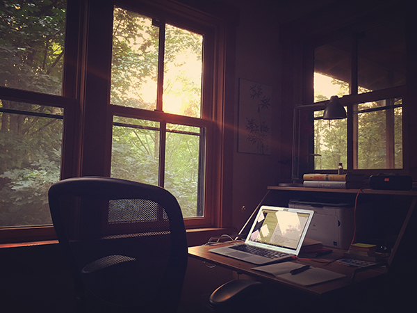 The cabin was cozy, and its many windows meant it was always bright.