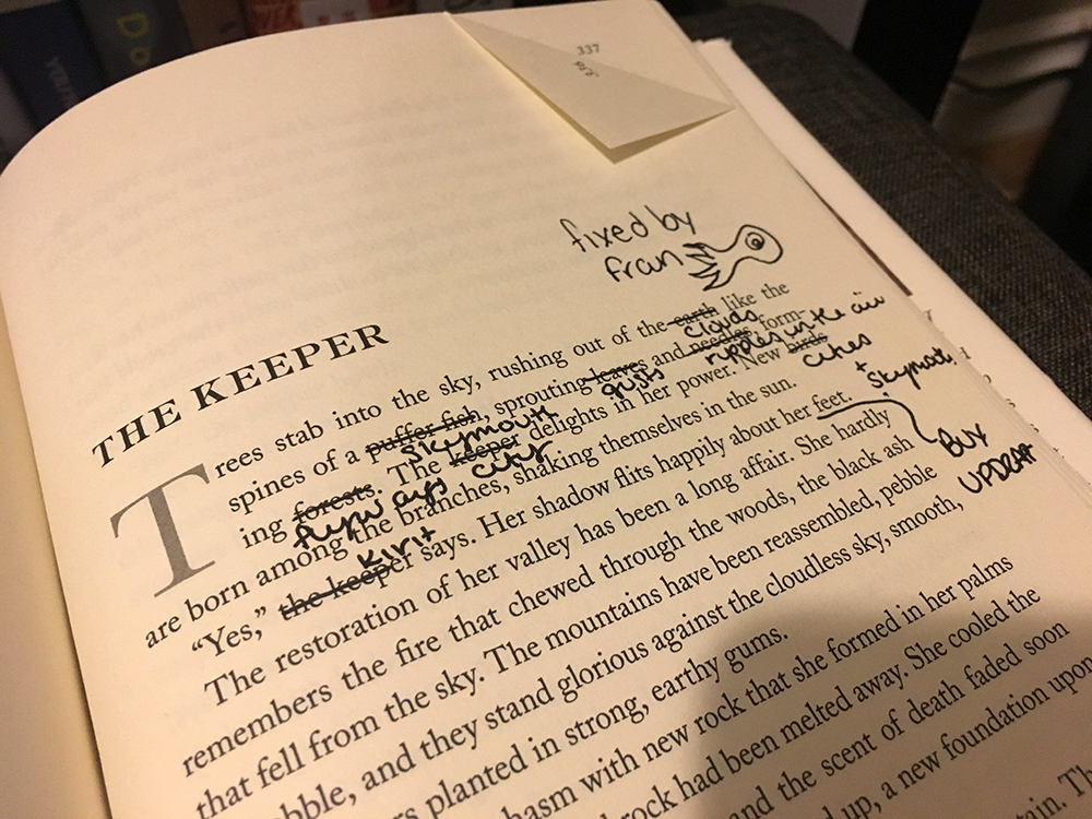 At a Portland SWFA reading, I shared the stage with Fran Wilde, Nebula nominee and Andre Norton winner; she edited a page of  Eleanor  to insert details from her own series.