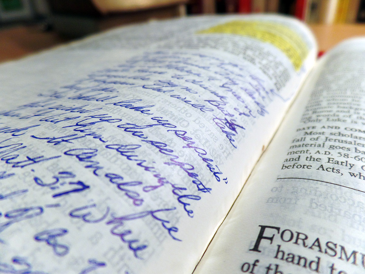 He wrote all over its pages—notes from sermons he'd heard, perhaps ideas of his own.