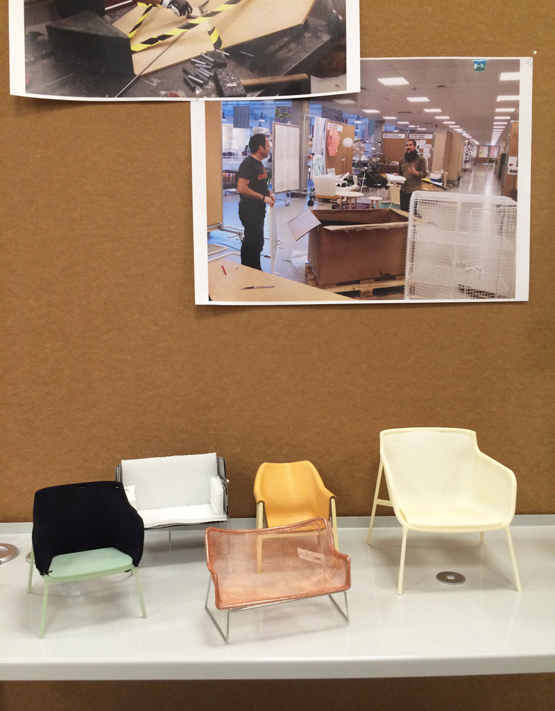 Miniature chair models were on display along withphotos of the design process in the PS 2016 booth.