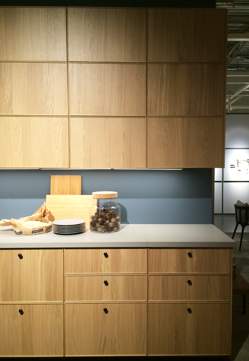 In another building, five new kitchen displays were set up. My favourite was this one which featured a white-oak style cabinet front with a raised panel. It was showcased alongside Ilse Crawford's new line with IKEA.