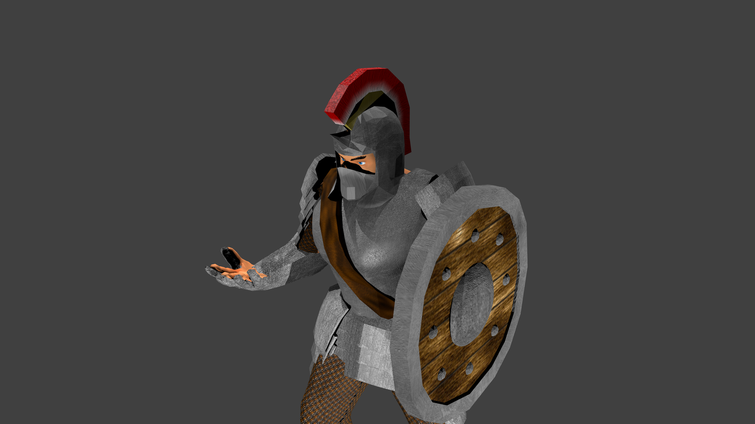 What you see here is the finished Plate Armor set rigged to the original body and ready to be inserted into the game (complete with the Idle animation from the first image above).