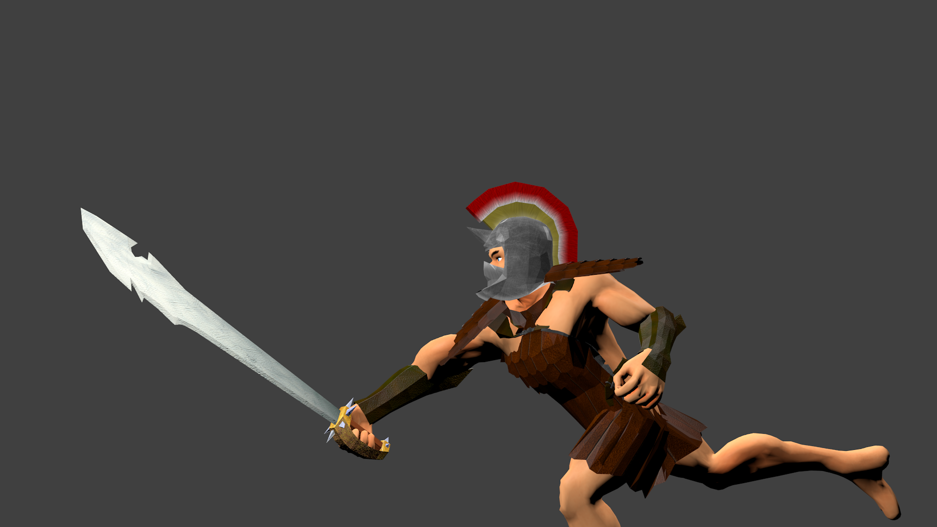 And finally, this is the preliminary animation still for the Longsword swing.