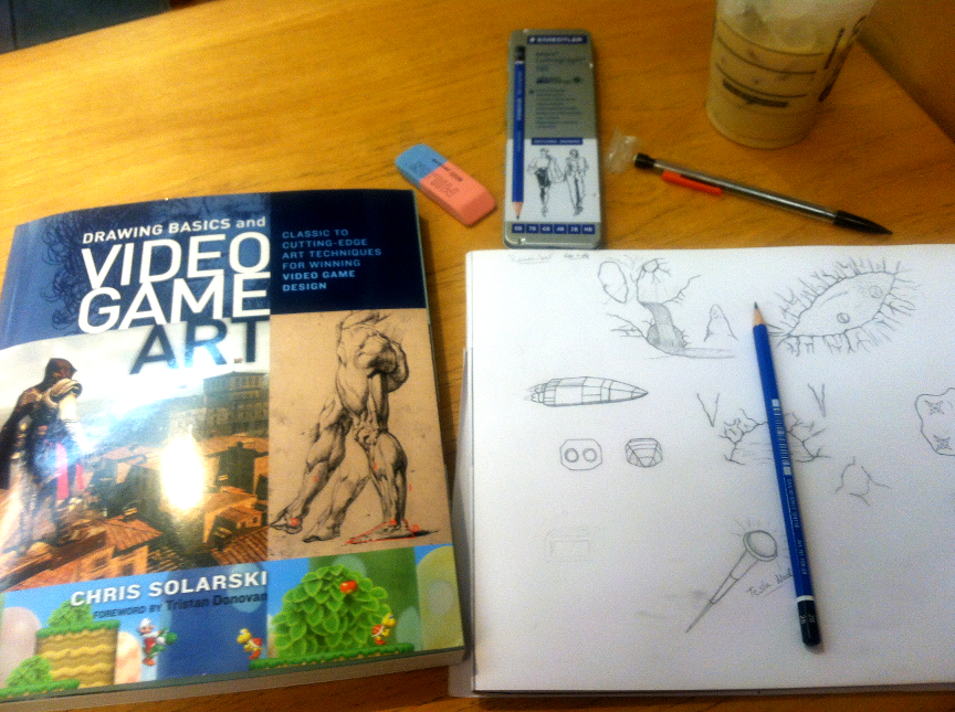 Day 1, before even cracking the book.  The crap I drew on the right is pre-Solarski.
