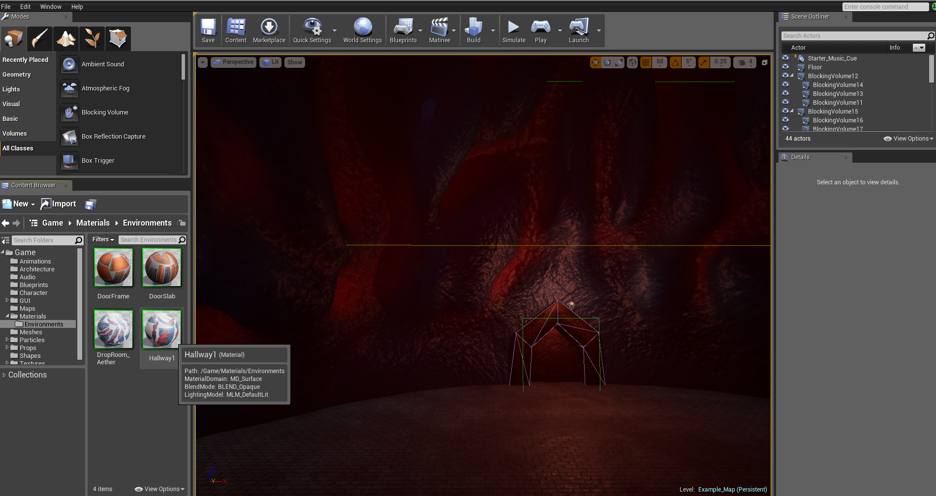 "UE4 Content Browser on left: You can see the ""Hallway 1"" material selected. If you double-click this..."