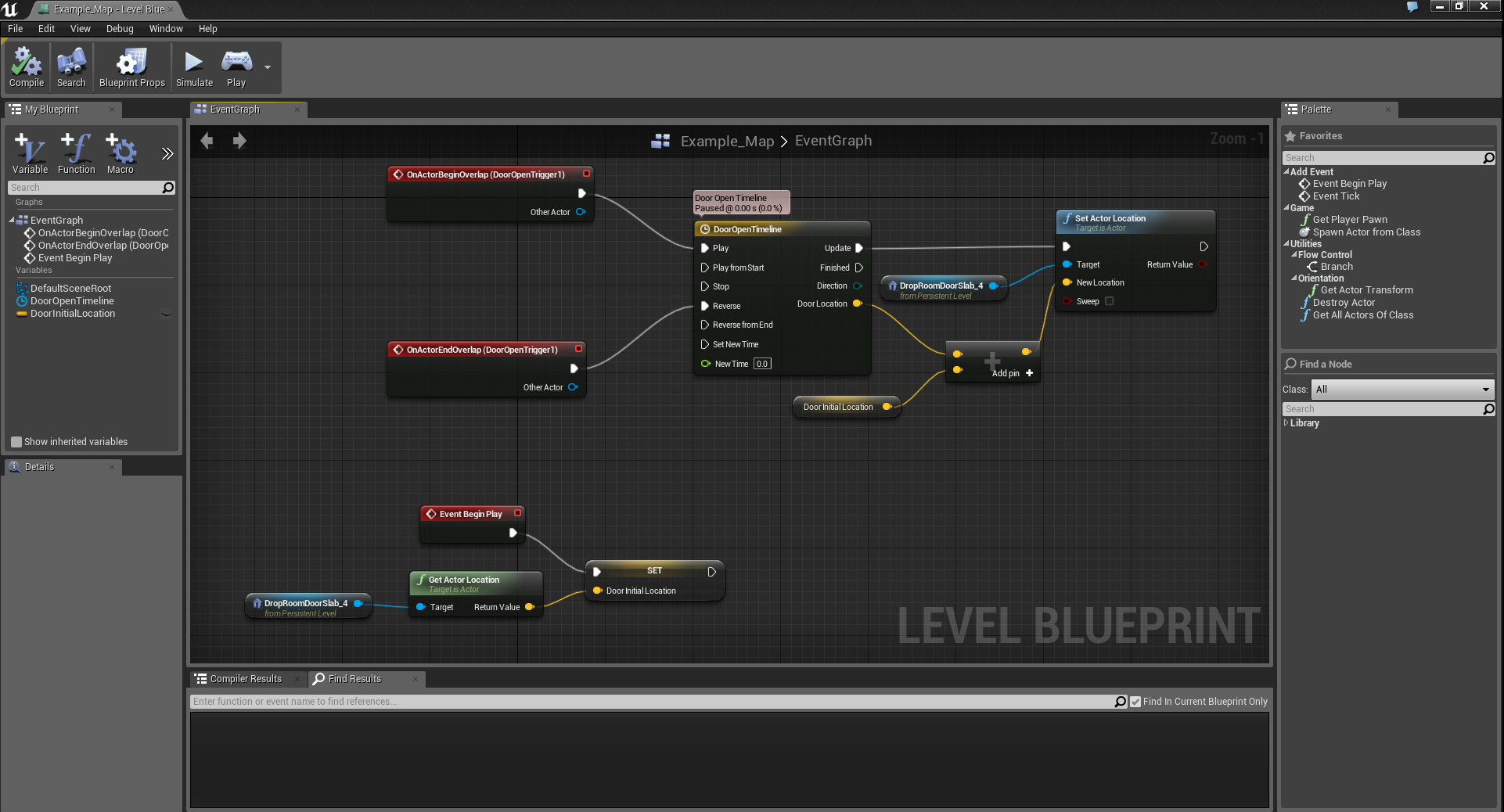 "This is a ""Blueprint"" that I ""coded"" in UE4, that opens and closes a nearby door whenever the player enters and leaves the Trigger Box, respectively.  This was very easy to execute and, as an artist with no technical programming background, almost magical to me."