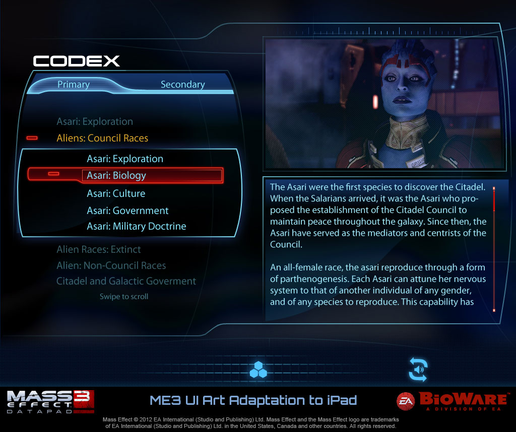 """Mass Effect 3 """"Codex"""" example, part of our inspiration for the Lore mechanic in Xeno (Copyright: EA, BioWare)"""