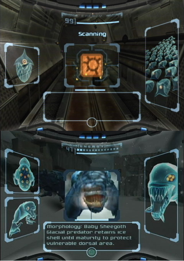"""Metroid Prime """"Scanning"""" tech, another inspiration for our Lore mechanic (Copyright: Nintendo)"""