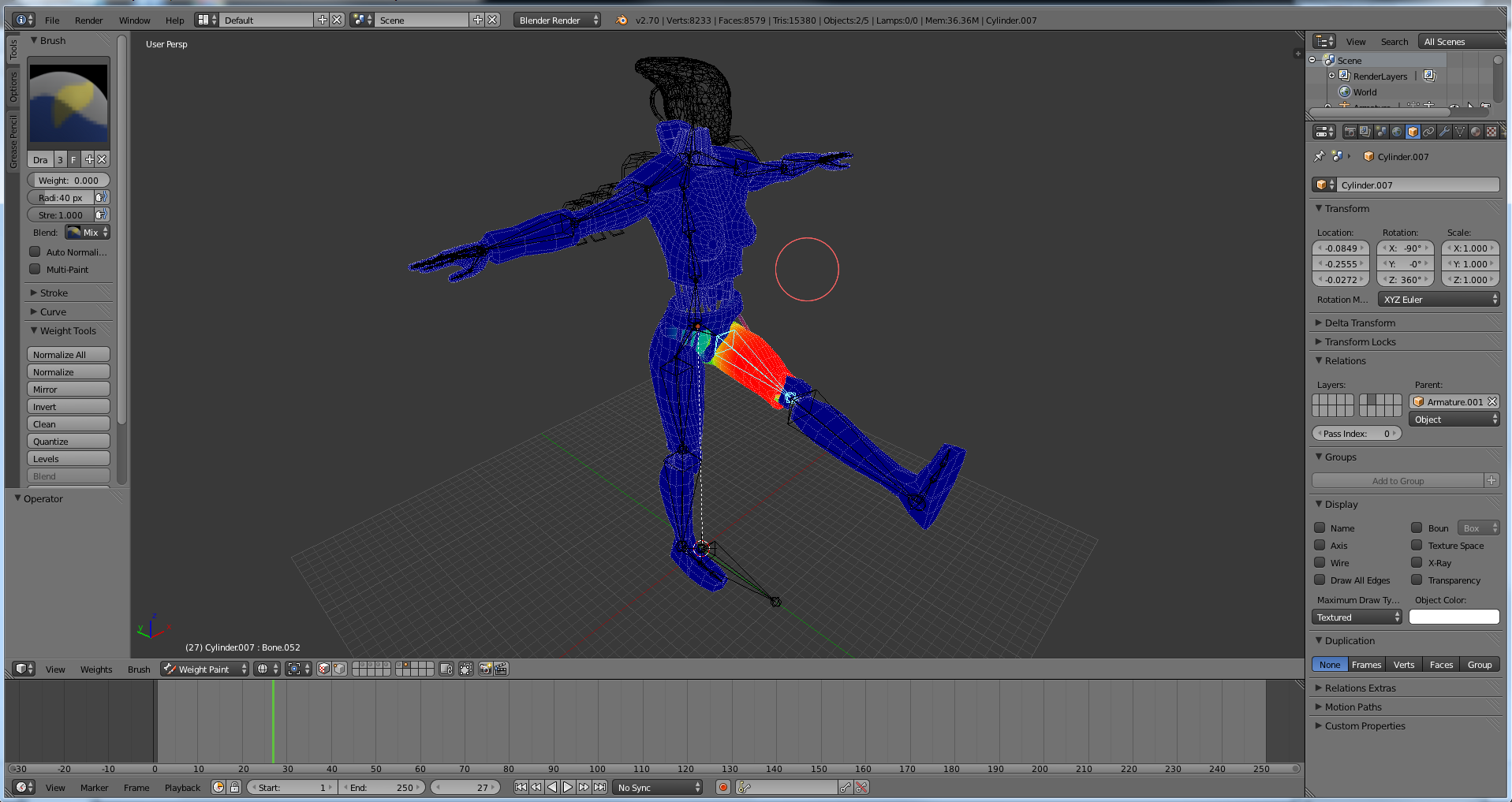 Weight-painting the Femme XMSuit onto the third-person rig.