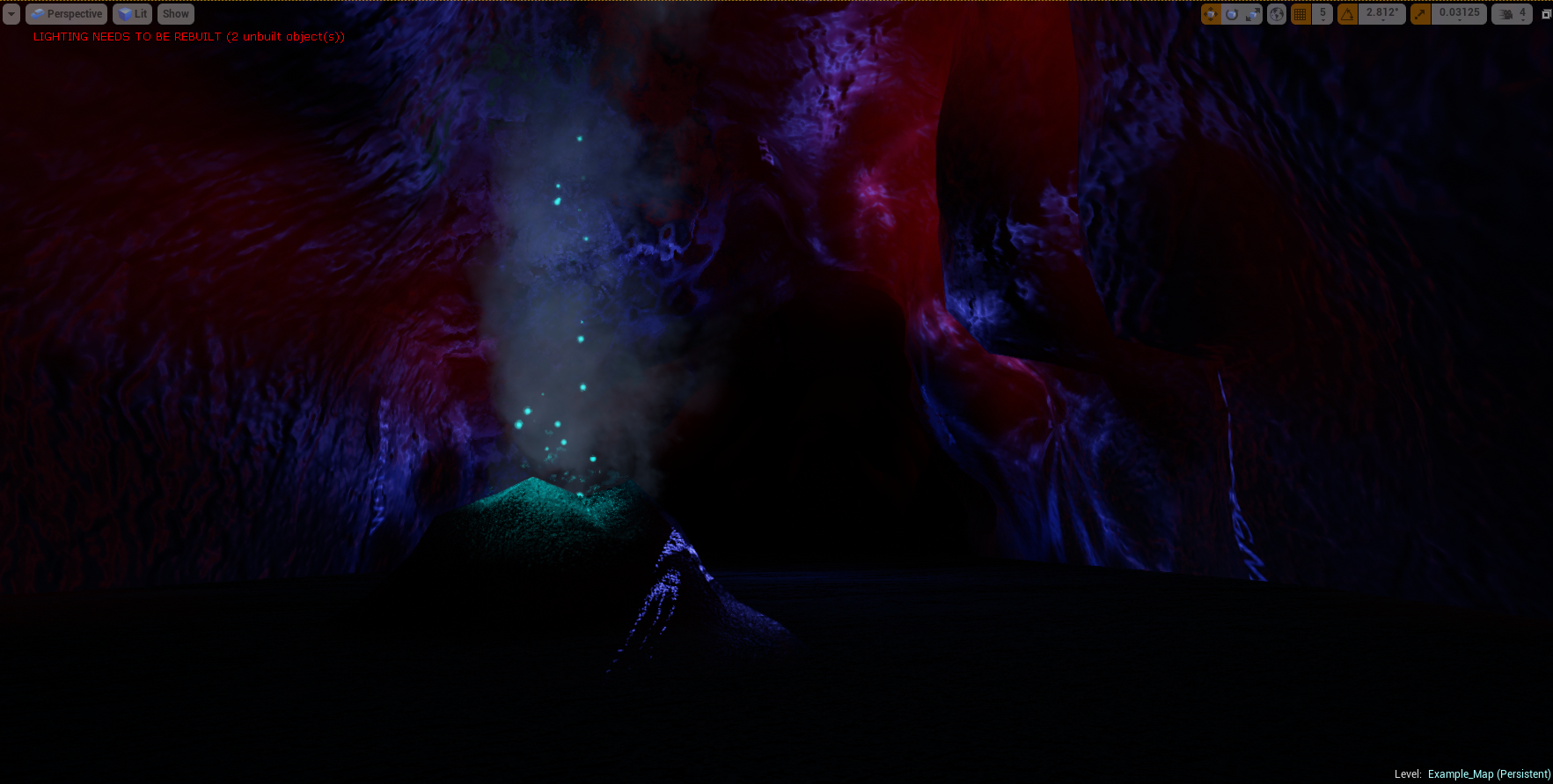 Subterranean flooded cave hallway, complete with hot-gas vent and rippling light reflection on the walls.  One of Xeno's many early in-game concept designs.