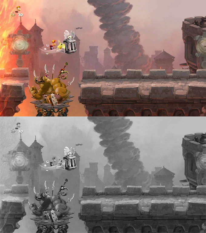Rayman Legends color/greyscale