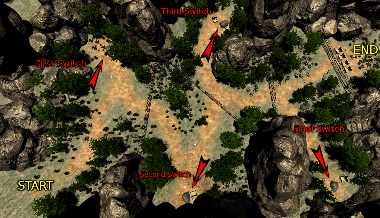 Start on the top of a long slope, and find levers as you descend in order to pass through gates to reach the treasure objective at the end