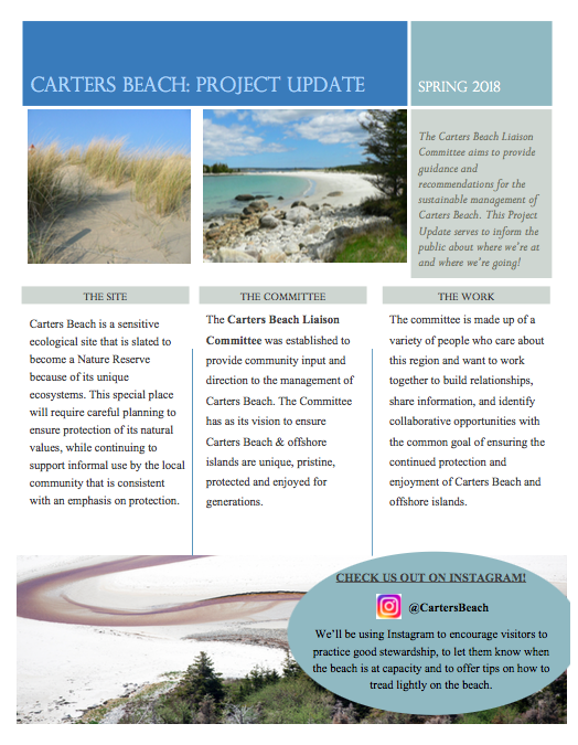 An example of some of the interpretive and educational material I'm working on for Carters Beach. This  Project Update  will be circulated to the community so that everyone can be kept in the loop!