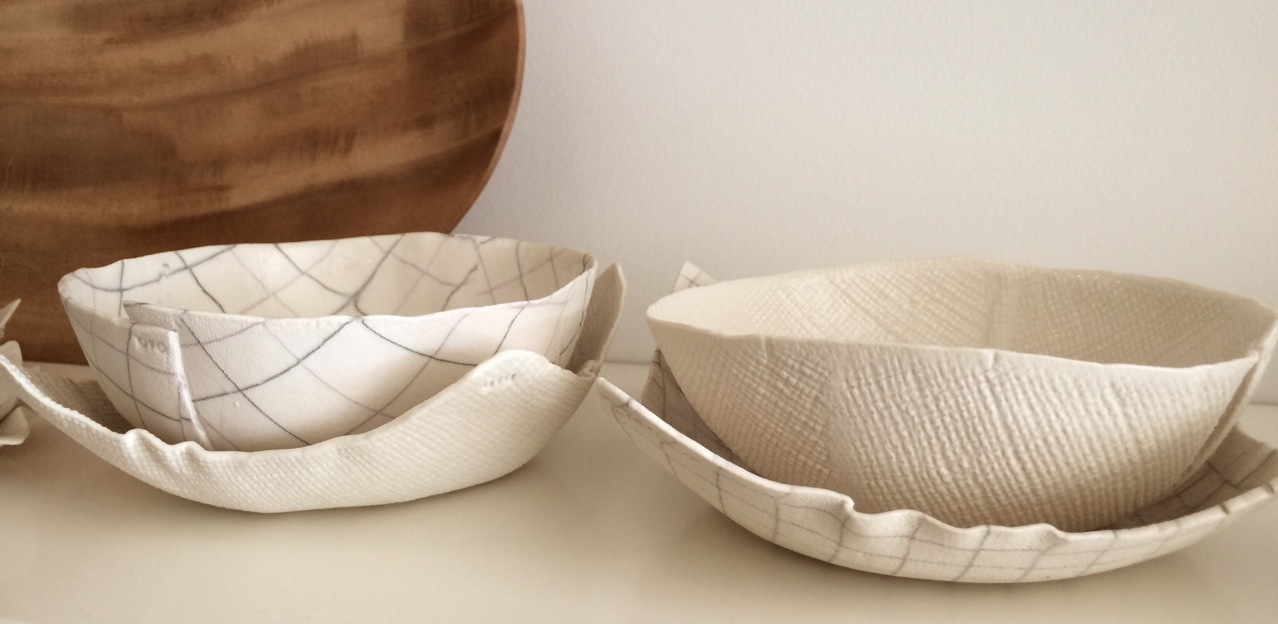 Square Plate in Burlap and Plaid (one each); Bowl in Plaid and Burlap (one each)