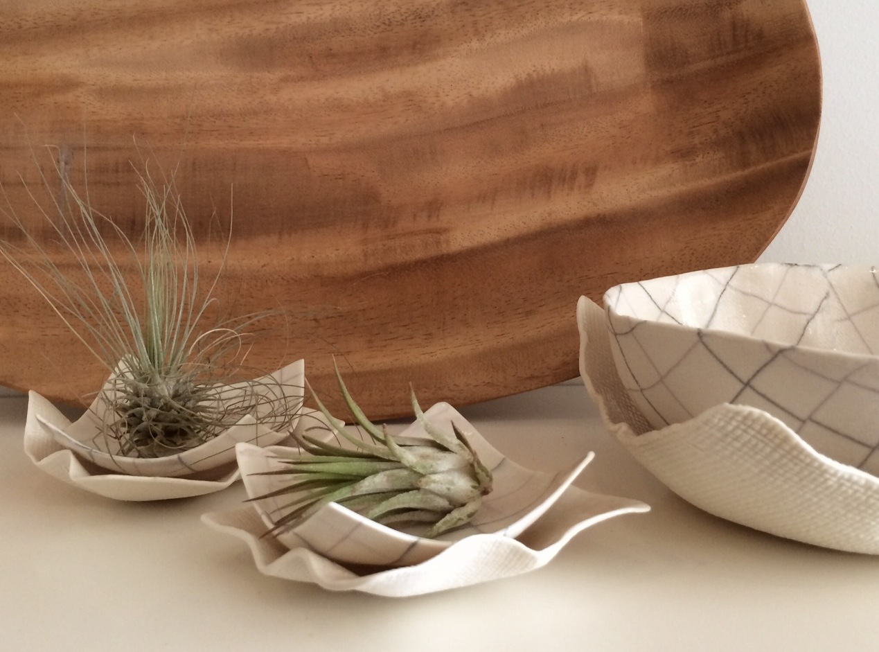 Small Plates in Plaid and Burlap - the perfect resting spots for two Tilandsia (air plants).
