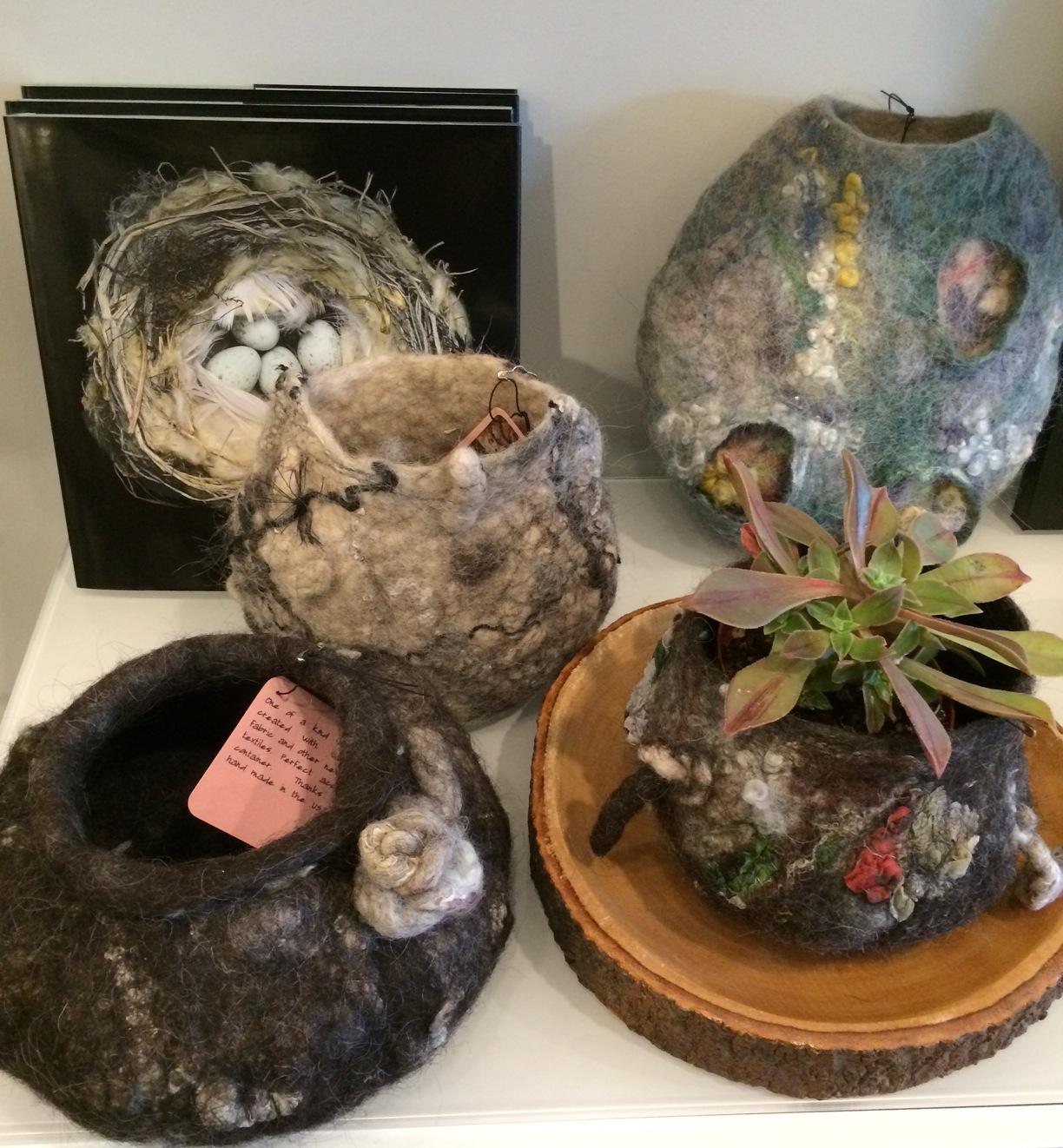 Quartet of hand-made felt vessels