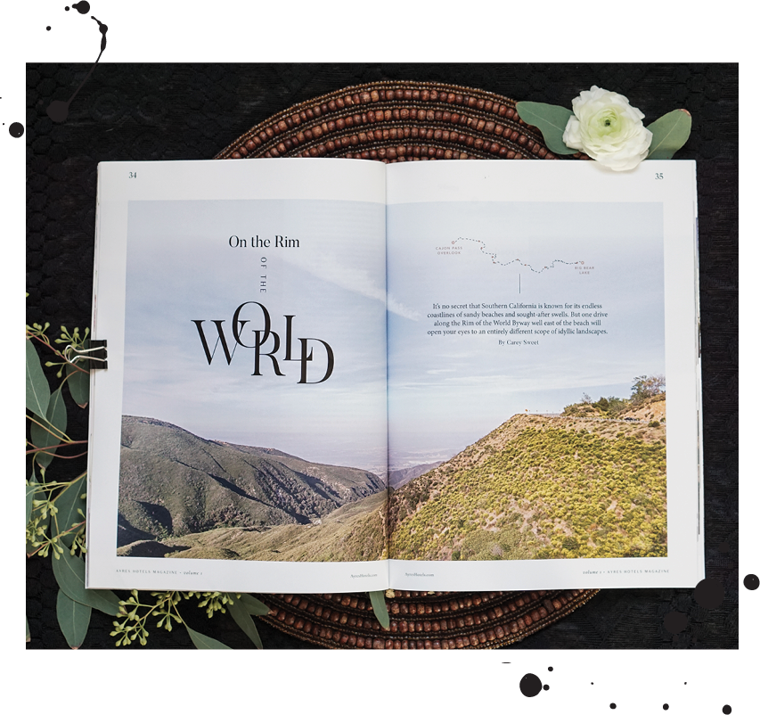Feature layout design, Ayres Hotels Magazine