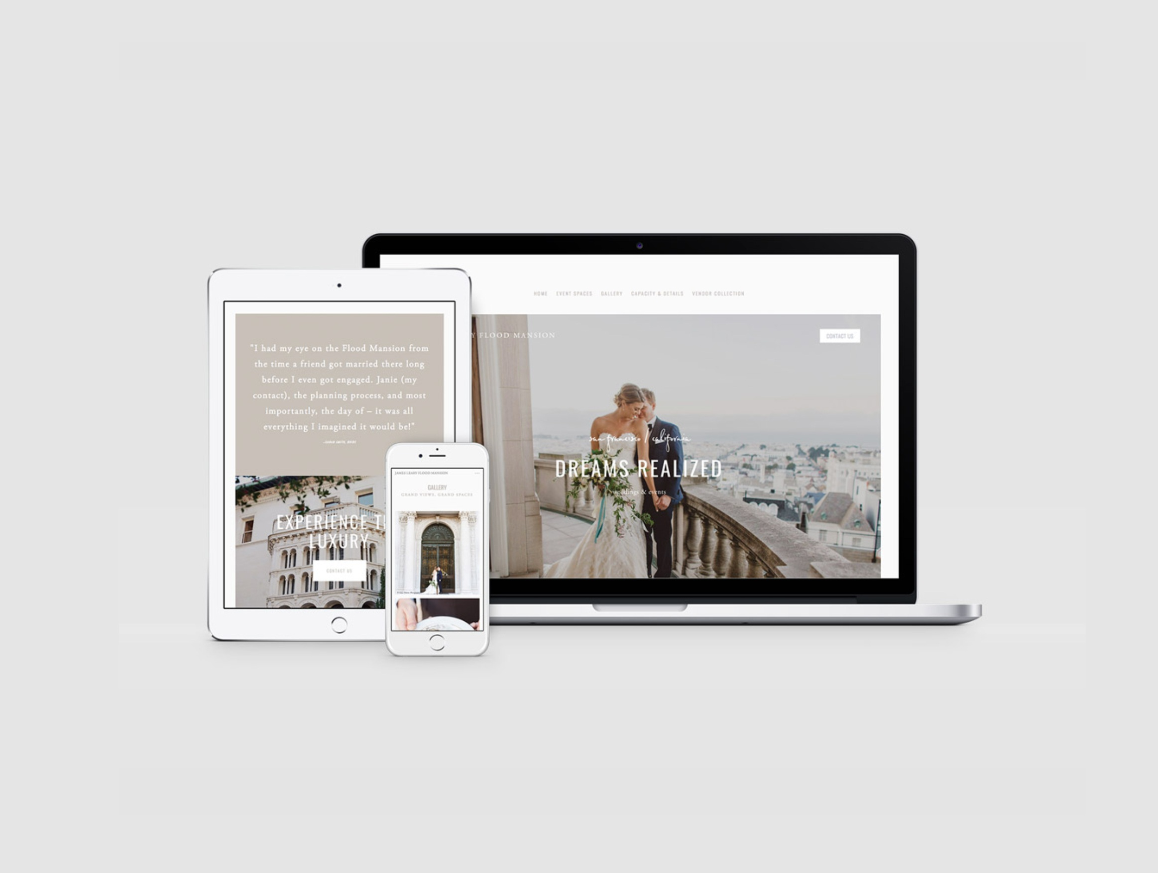 Website: James Leary Flood events. Built with SquareSpace.