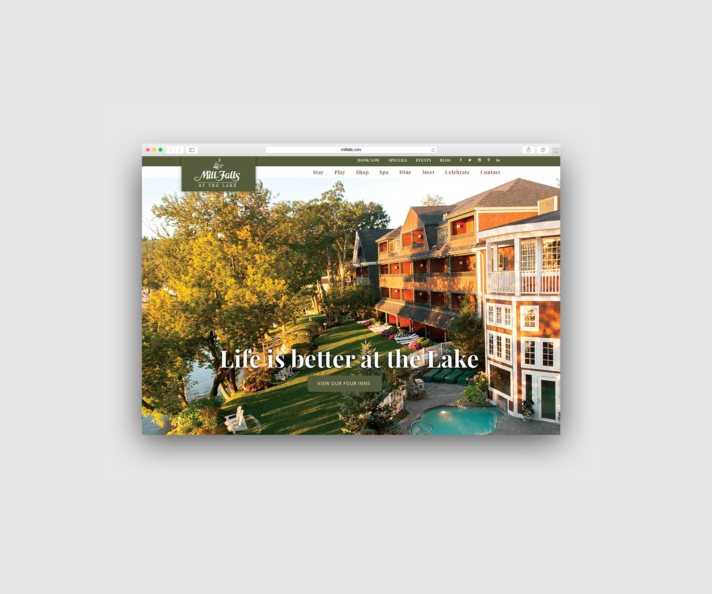 Website Design: Mill Falls at the Lake