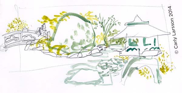 Tōrō and bridge at the Brooklyn Botanic Garden © Carly Larsson 2014