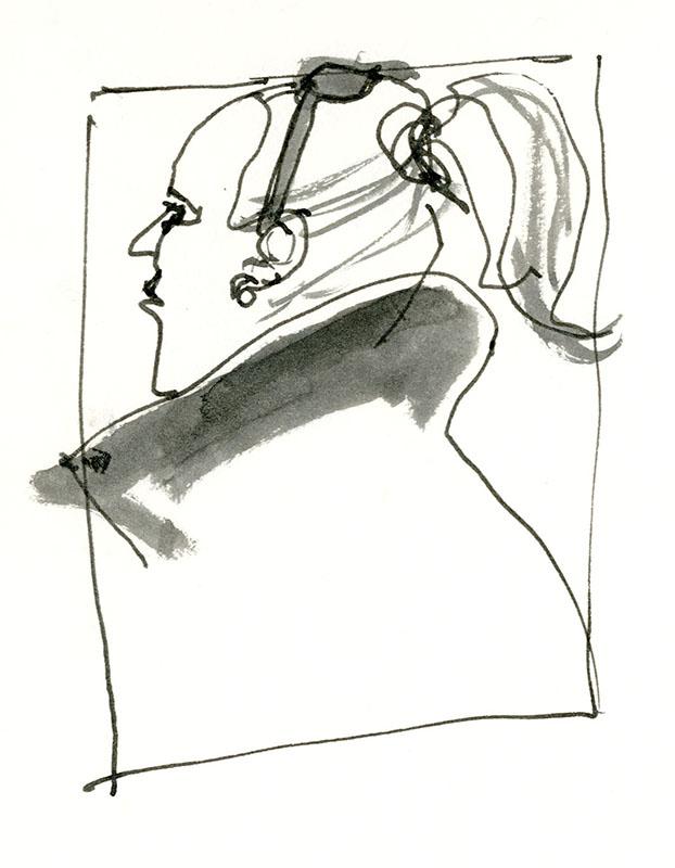 Chic ponytail lady, G train © Carly Larsson