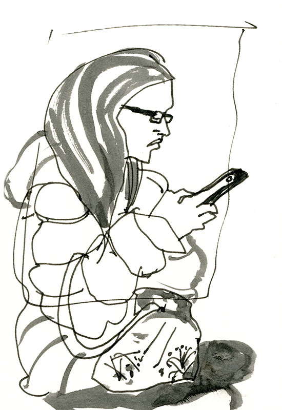Girl on the 7 train. Loved her puffy jacket and floral handbag. © Carly Larsson 2014