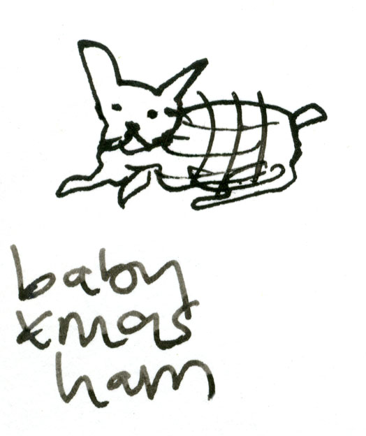 Baby Christmas ham dog © Carly Larsson 2014