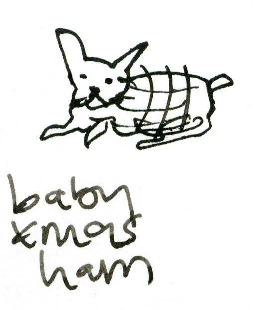 Baby Christmas ham dog © Carly Larsson 2014