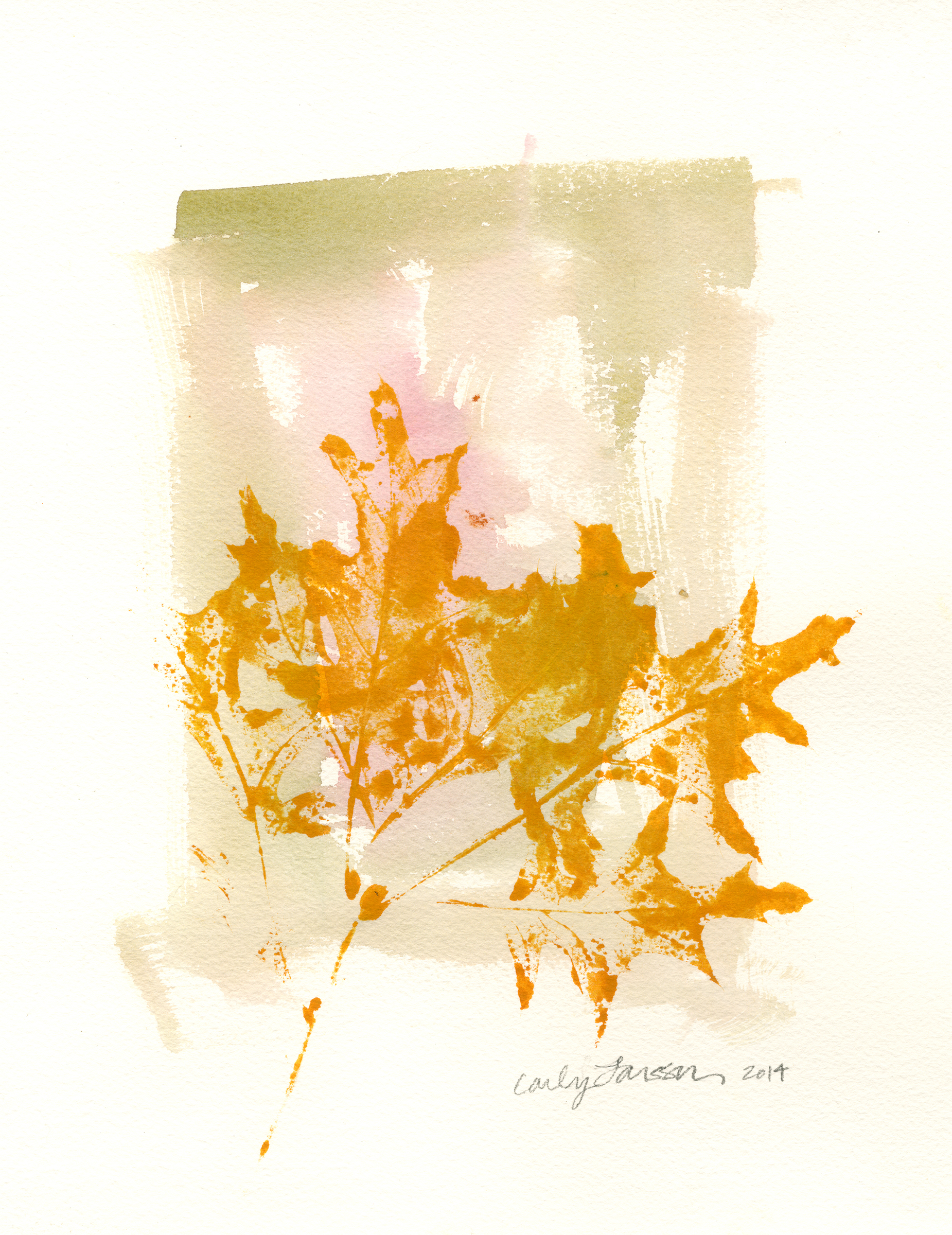 Scarlet oak leaves, watercolor and gouache on Arches cold press 140lb watercolor paper. © Carly Larsson 2014.