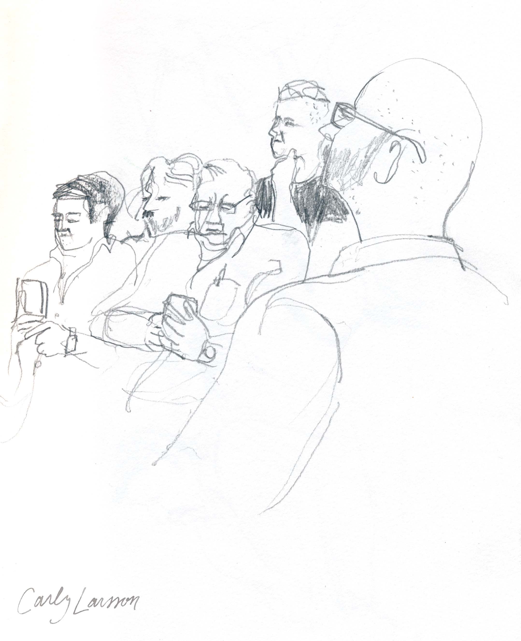 Some guys sneaking onto their cell phones in the court room before the judge returned from lunch (30 minutes late).