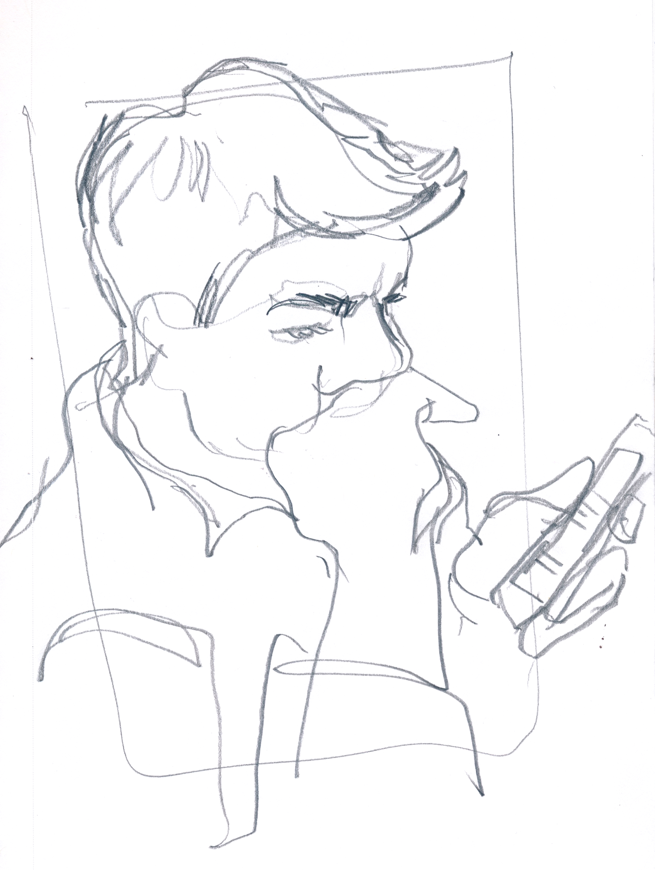Grey reading the NY Times on his phone while I take too long to finish my lunch because of drawing everyone © Carly Larsson 2015