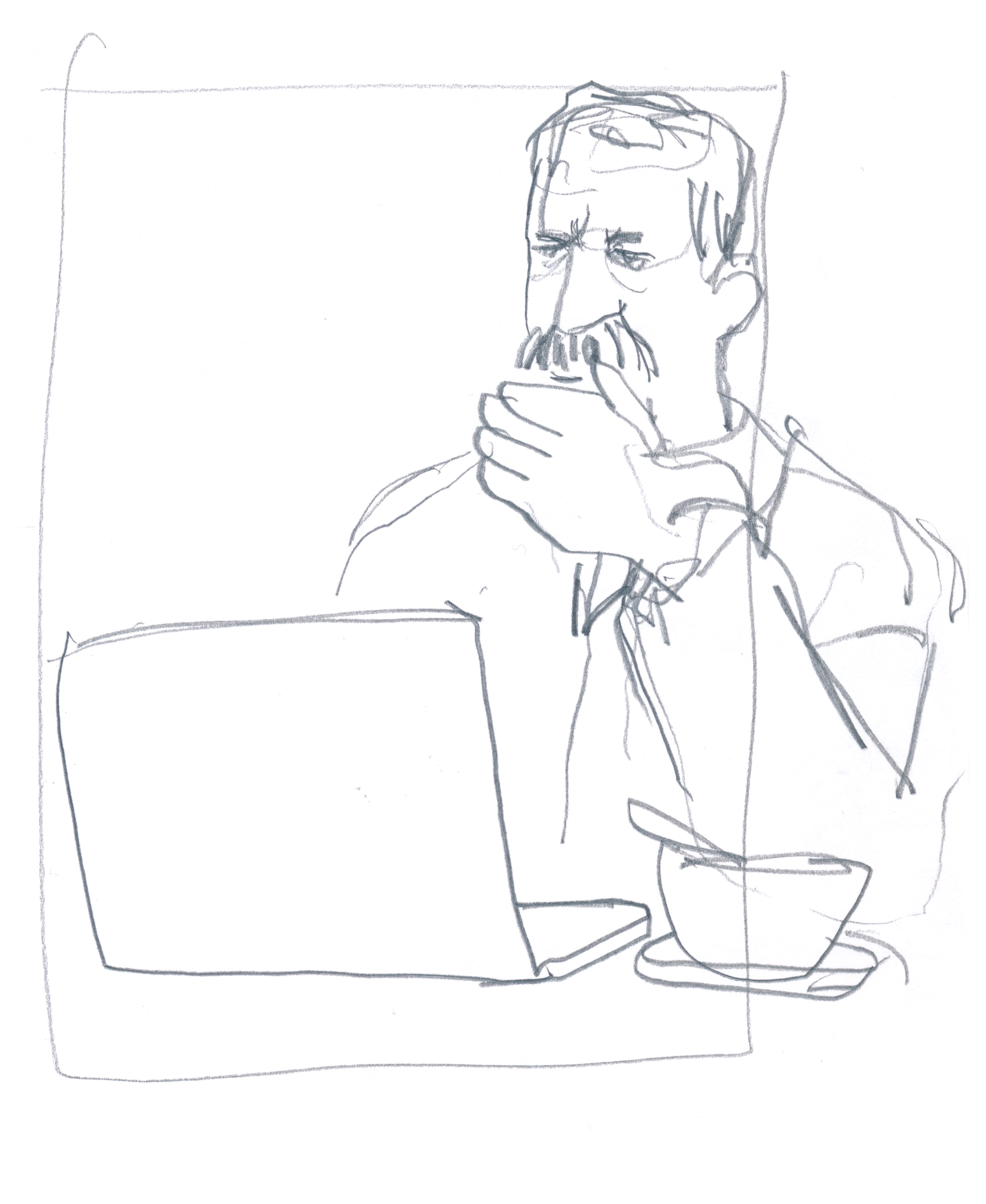 Guy with commendable mustache getting some work done © Carly Larsson 2015