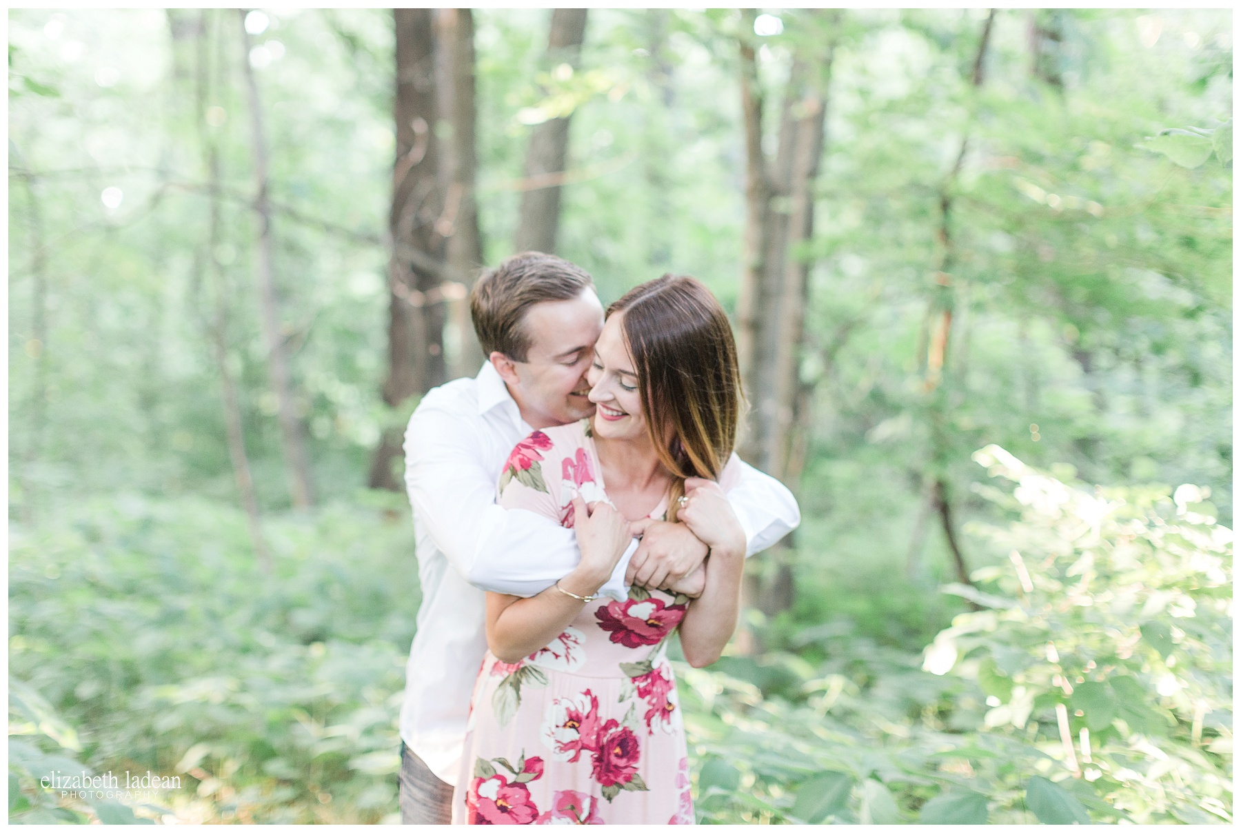 Floral dress engagement photos