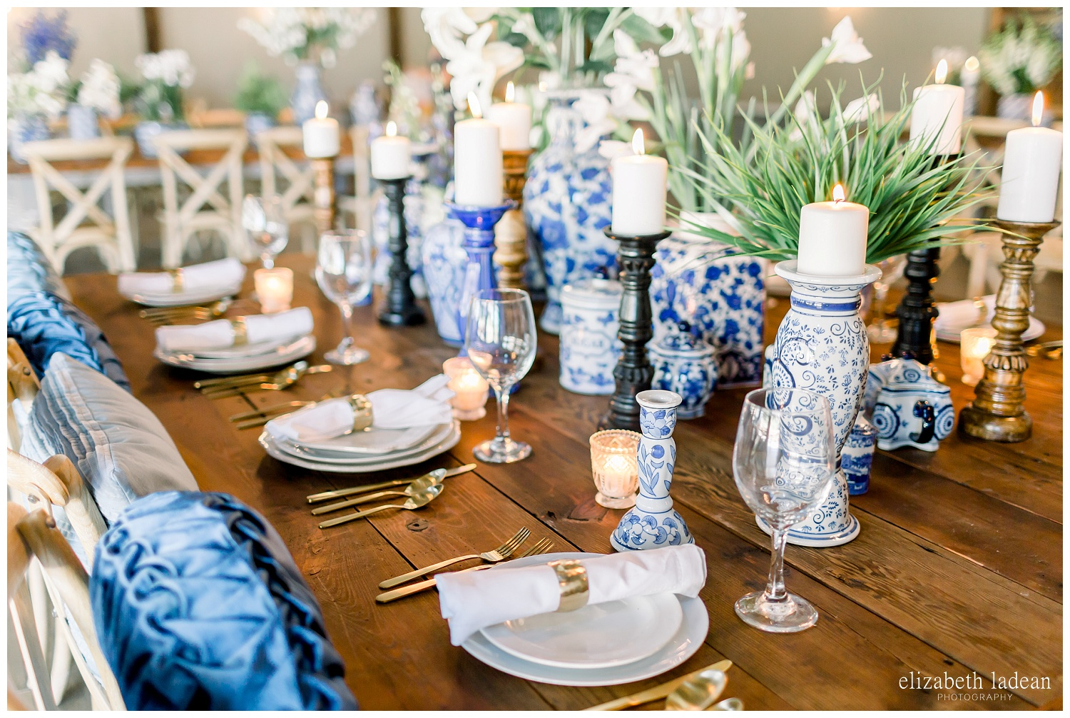 blue and white old italian wedding