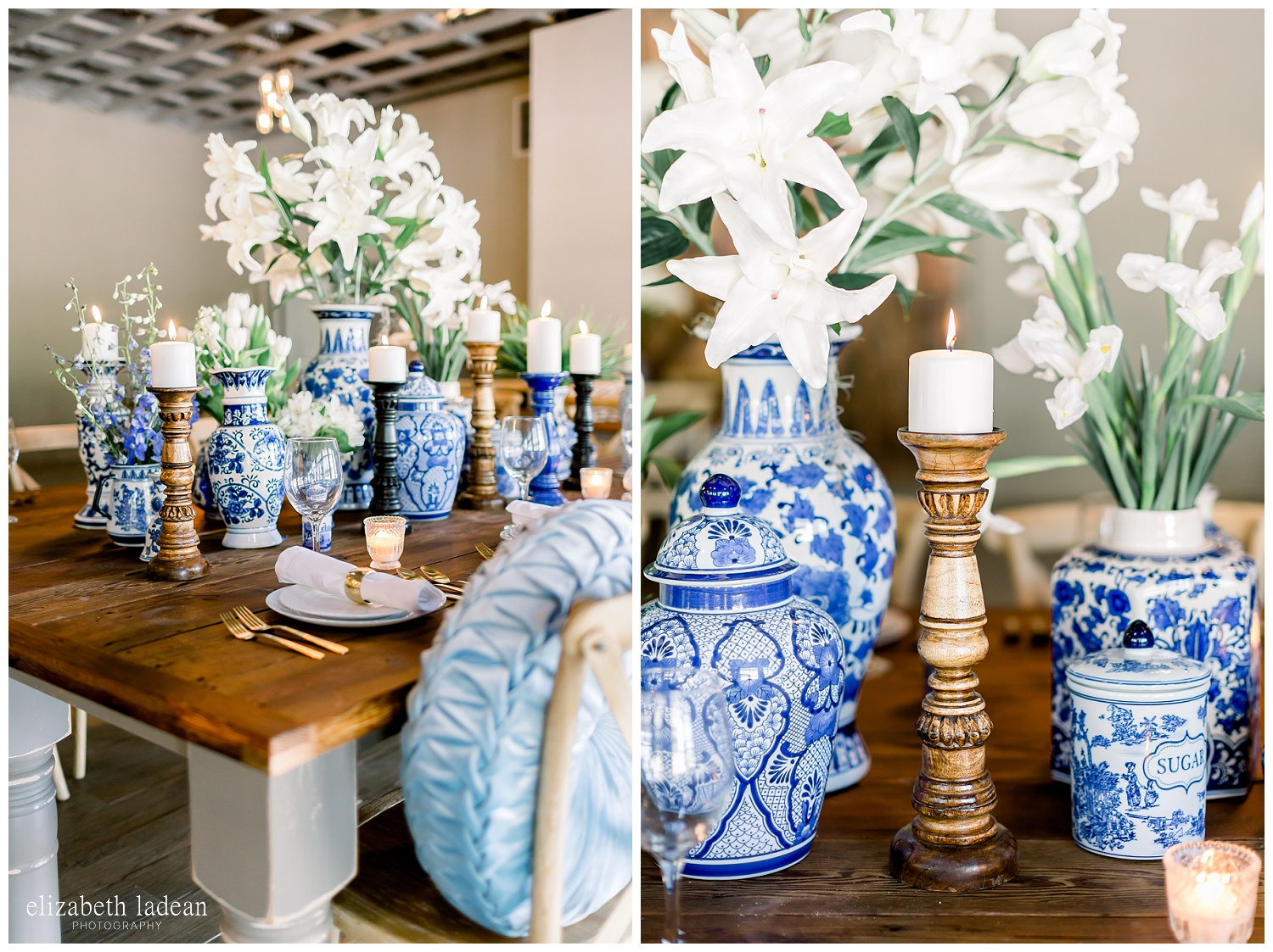 blue and white vases at wedding