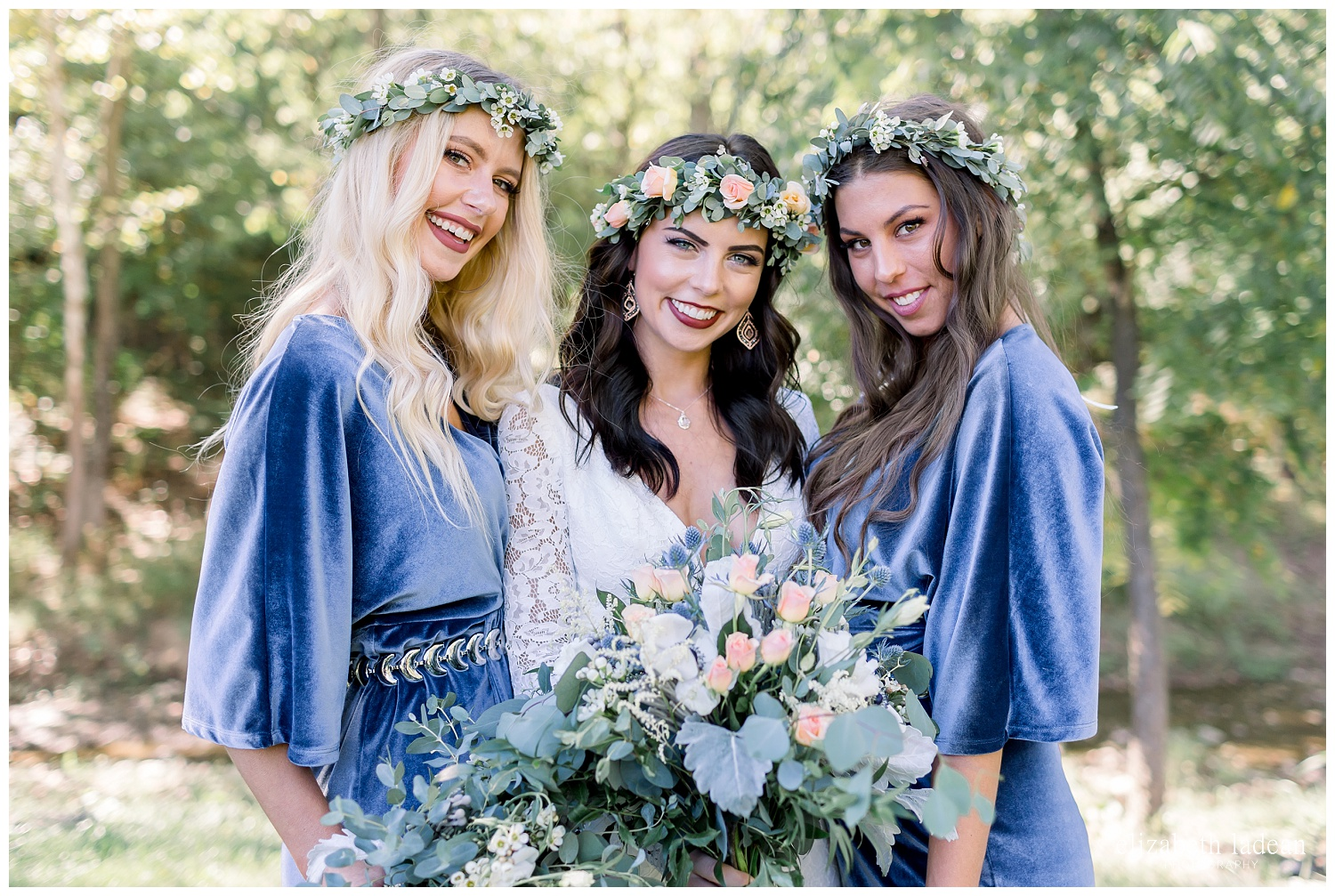 bride and bridesmaids floral and flower crowns