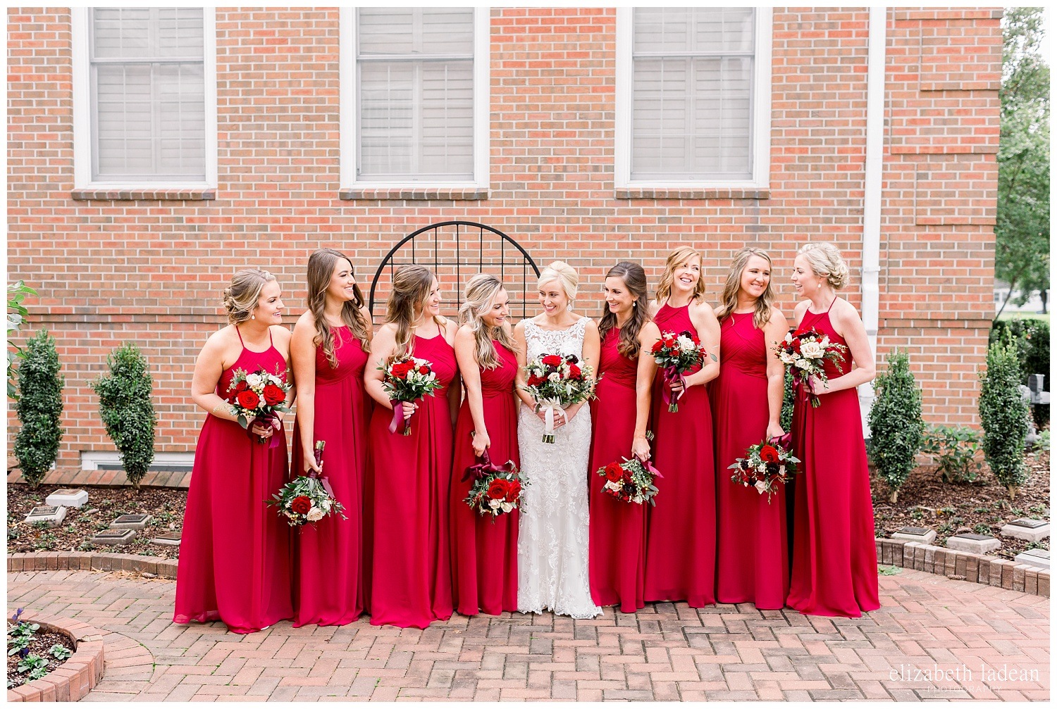 red and green bridesmaids