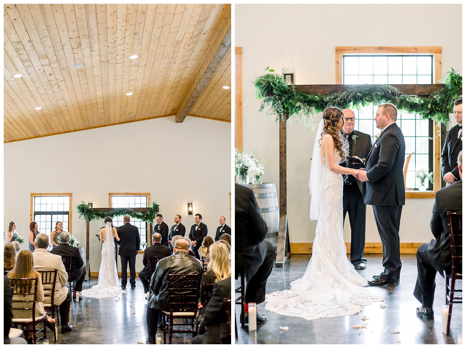 Classic indoor wedding ceremony at Willow Creek