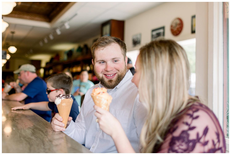 Ice cream shop engagement photos