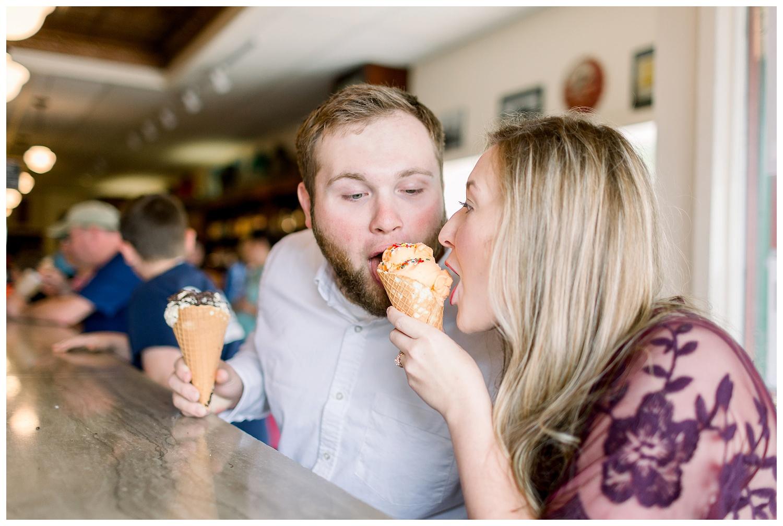 Ice cream shop engagement session