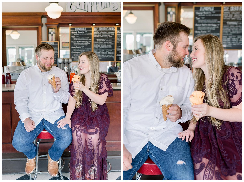 Engagement photos at Clinton's Soda Shop