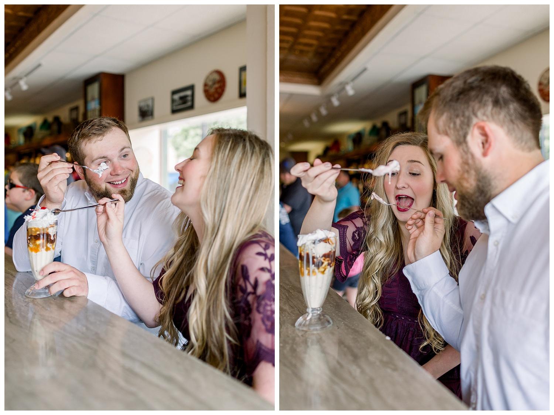 Engagement photos at an ice cream shop