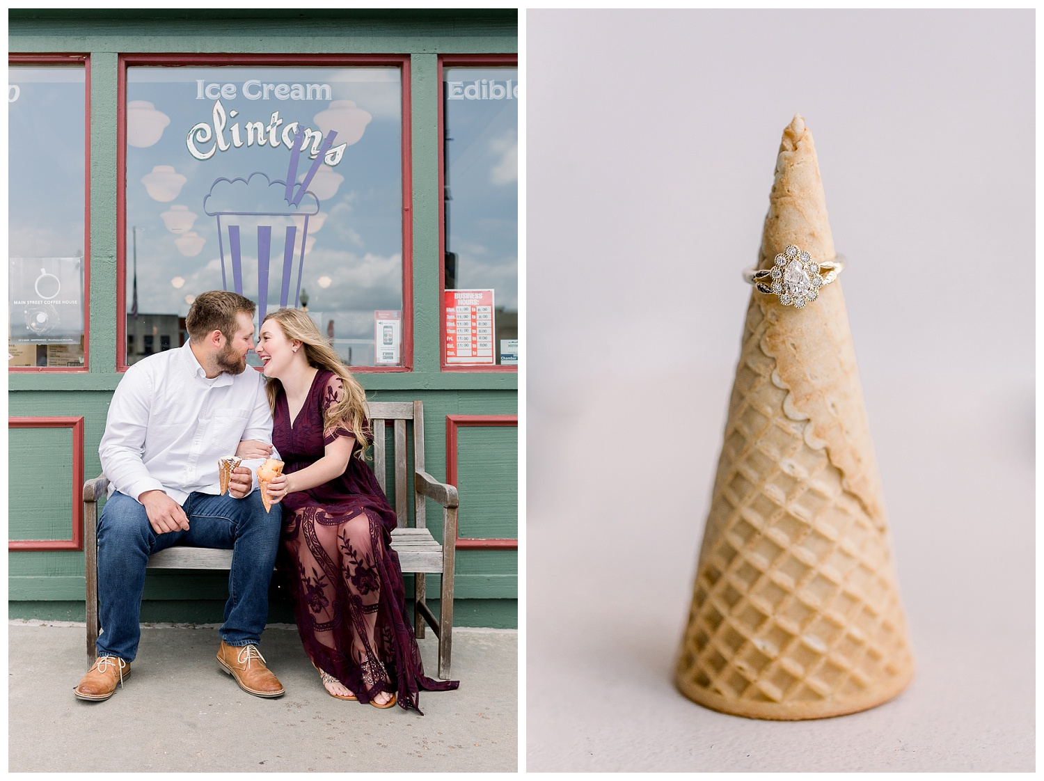Engagement photos at Clinton's Ice Cream Shop Independence