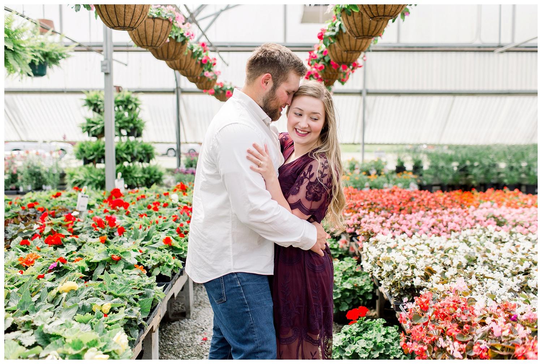 Flower nursery engagement photos