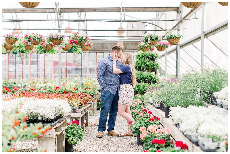 Greenhouse Flower Nursery engagement photos