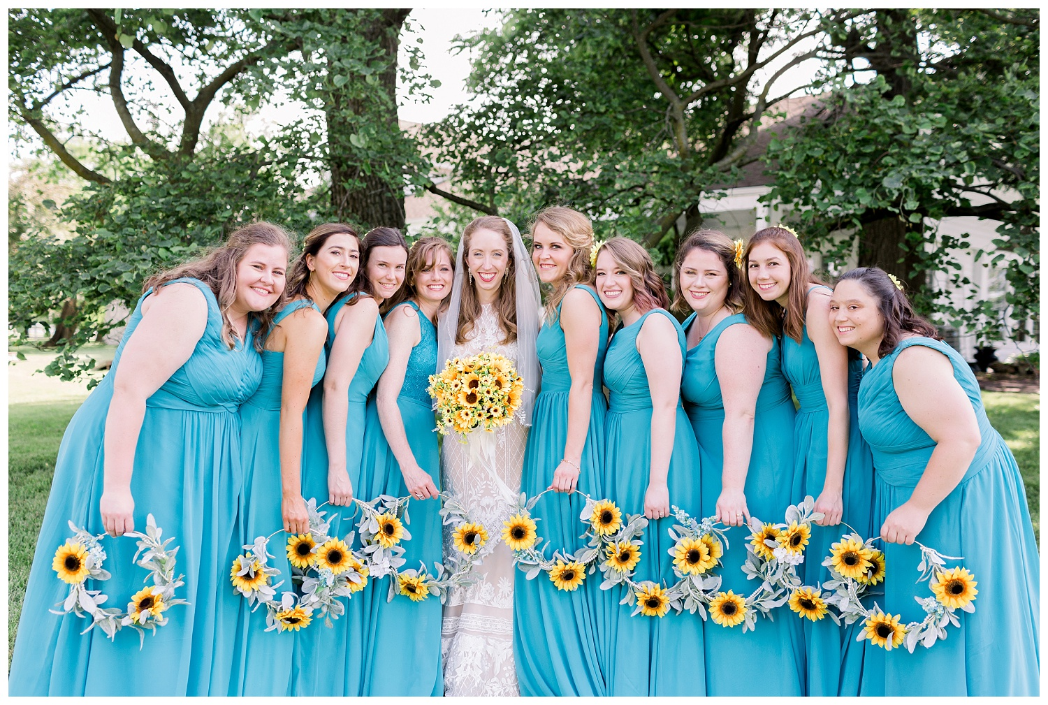 sunflower hoops as bridal bouquets