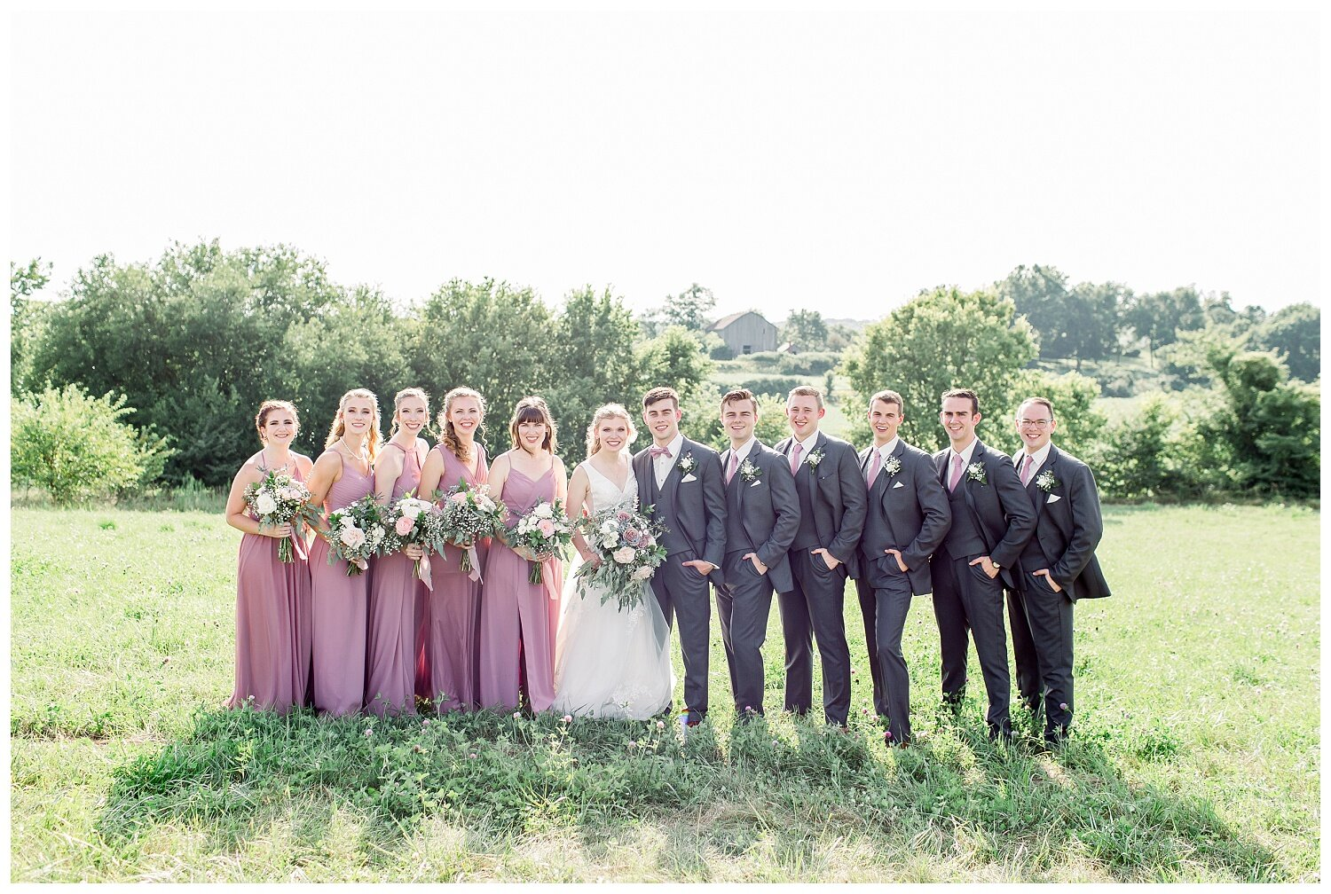 bridal party photos in a field