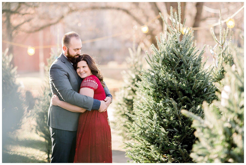 Cozy Christmas Tree Farm Engagement Session Meghan Chris